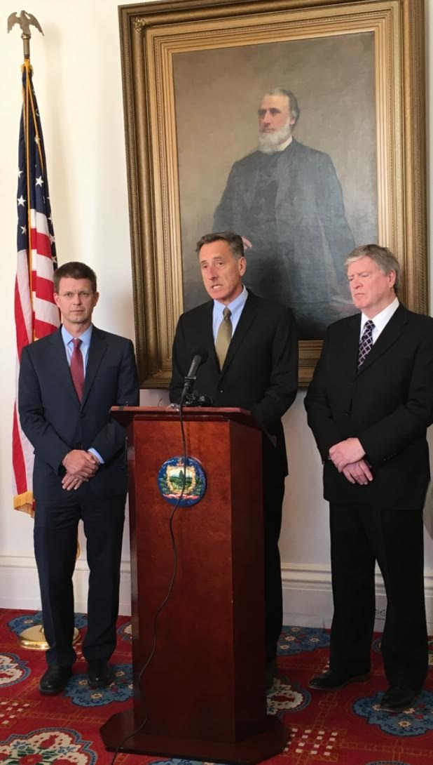 [From left] House Speaker Shap Smith (D-Morristown), Gov. Peter Shumlin, and President Pro-Tempore John Campbell (D-Windsor) at a press conference announcing formation of VT Hydropower Working Group (April 5, 2016).