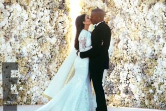 Courtesy: E! News. Kanye West and Kim Kardashian wed in Florence, Italy (2014).