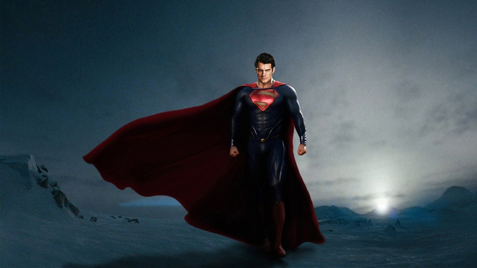Henry Cavill in Man of Steel (2013), produced by Legendary Pictures, DC Entertainment and Syncopy Inc.; and distributed by Warner Bros. Pictures.